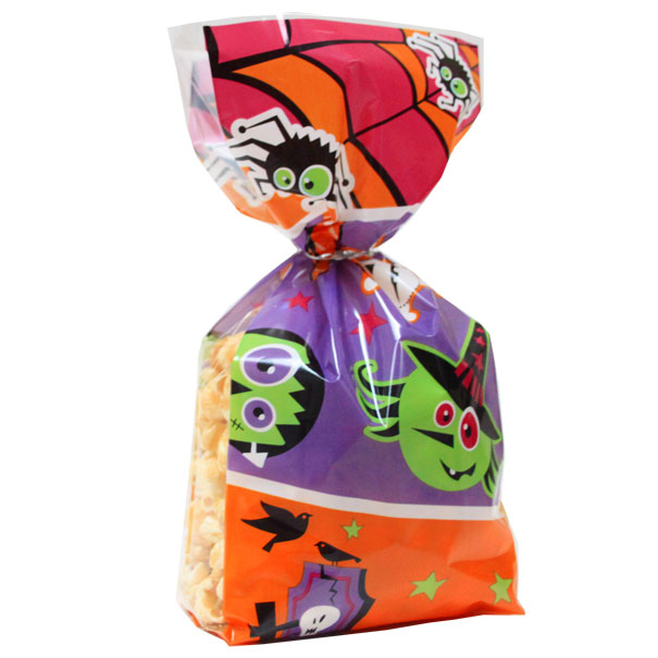 TREAT BAG (pk 10) with Twist Ties 10x6x24cm - HALLOWEEN WITCHES